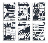 Set of hand drawn cards. Abstract backgrounds. Drawing template for flyers, banners, posters