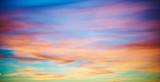 Sonnenuntergang, Himmel, blau, gelb, Wolken, Abend, Natur, Sonne,