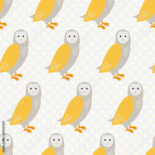 Seamless pattern with cute cartoon owls on grey dotted background. - 115337247