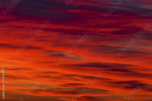 Poster Rood traf. Colorful clouds on the sky