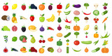 Fototapety Set of fruits and vegetables. Different colorful vegetables and fruits. All kinds of green vegi and fruit for cooking meals, planting in garden.