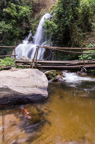 In de dag Bos rivier Pha Dok Sie Waterfall in Doi Inthanon national park, Chiangmai Thailand
