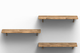 three wooden shelves