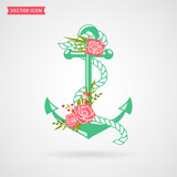 Anchor with flowers. Vector icon.