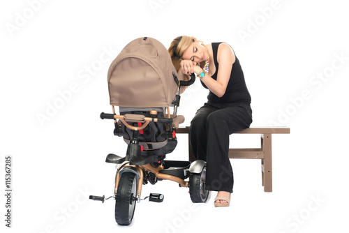 Poster Woman with baby and pram isolated on white