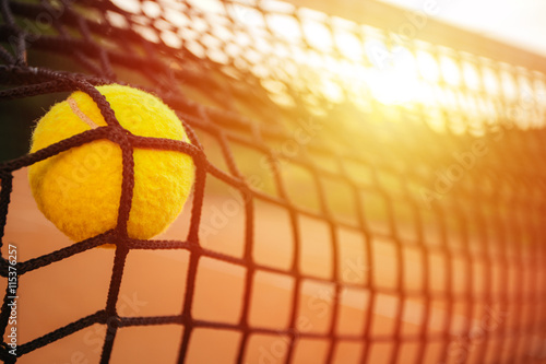 Plakat Tennis ball in net
