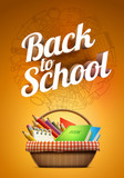 Back to school poster with school supplies basket