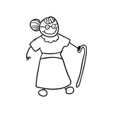 old people and cartoon concept represented by grandmother icon. Isolated and sketch illustration