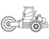 flat design steamroller machine icon vector illustration