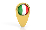map pointer with flag of Italy, 3D rendering
