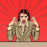 Fototapety Screaming Frustrated Business Woman with Help Sticker on her Head. Pop Art. Vector illustration