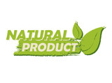 natural product with leaf sign, green drawn label, vector