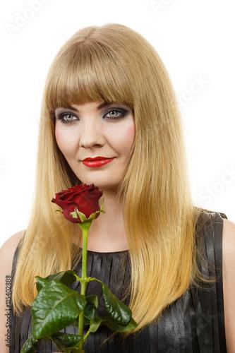 Zdjęcia na płótnie, fototapety, obrazy : Beautiful young lady with red rose.