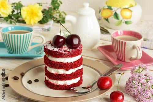 fototapeta na ścianę red cake with cherry