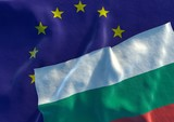 Bulgarian and EU Flag. 3D render