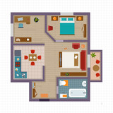 Fototapety Detailed apartment furniture overhead top view