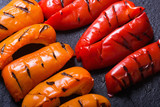 Orange and red grilled peppers
