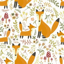 Adorable seamless pattern with cute foxes - Mother fox and her baby