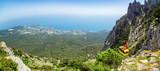 панорама с горы Ай-Петри на города Ялта и Гаспра, Крым, Черноморское побережье