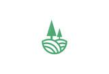 pine tree landscape vector logo