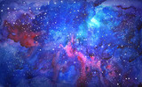 Fototapety blue universe space abstract background. watercolor illustration