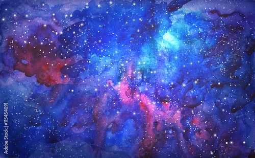 Fototapeta blue universe space abstract background. watercolor illustration