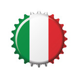 National flag of Italy on a bottle cap. Vector Illustration