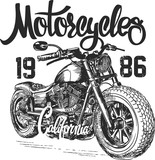 Fototapety illustration sketch motorcycle california t shirt prints