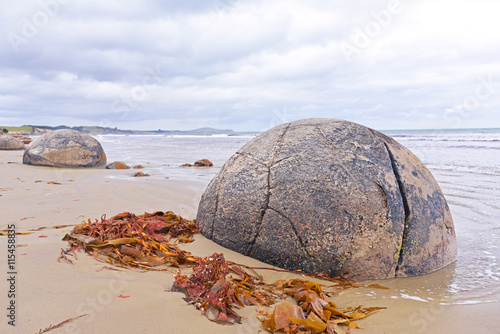 Poster Moeraki Boulders on Koekohe Beach on the Otago coast of New Zealand