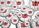 Time Out Break Pause Intermission Flying Clocks Words 3d Illustr