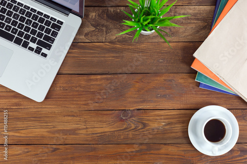 Poster Freelance working environment view of wooden Desk with Business Items