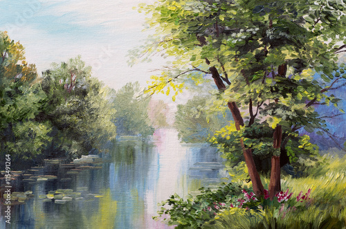 Obraz na Szkle Oil painting landscape - lake in the forest, summer day