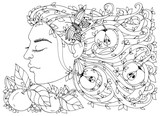 Vector illustration Zen Tangle, girl, woman with flowers in her hair, apples. Doodle drawing. Coloring book anti stress for adults. Black and white.