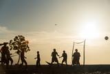 Sunset people silhouettes in Zanzibar