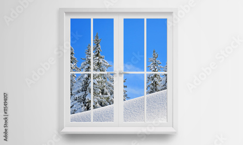 Look out the window at the winter and snow. It's cold outside. - 115494017