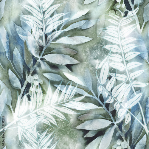 Watercolor Leaves Seamless Pattern - 115497248