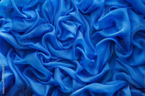 Fabric Waves Background, Cloth Wave, Blue Satin Abstract Texture