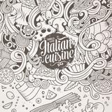 Cartoon hand-drawn doodles Italian food illustration
