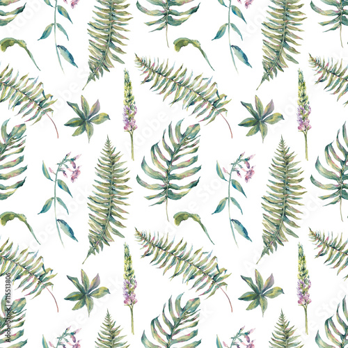 Tropical watercolor leaf seamless pattern - 115513806