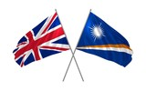 3d illustration of UK and Marshall Islands flags together waving in the wind