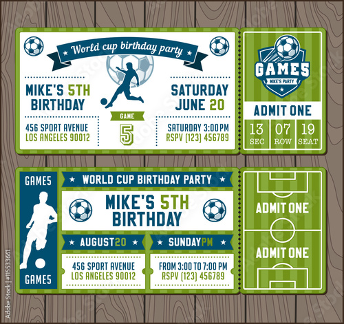 Vector Soccer Party invites