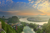 Landscape of Guilin, Li River and Karst mountains. Located near Yangshuo County, Guangxi Province, China