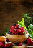 Summer fruit and berry, vintage wooden background, selective foc