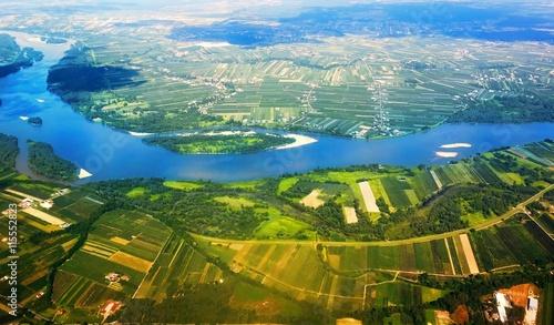Obraz na Plexi Vistula River in Poland from the air.