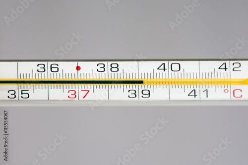Poster thermometer shows fever