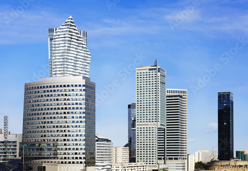 City business district at sunny day