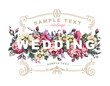 Vector wedding label with a frame composed of detailed flowers - 115564491