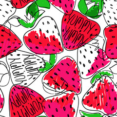 Colorful Sketch Seamless Pattern Of Strawberries.