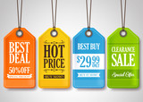 Sale Tags Design Collection Hanging with Different Colors for Store Promotions in White Background. Vector Illustration.