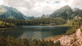 The Chalet at Glacial Lake Popradske Pleso in High Tatras National Park, Slovakia